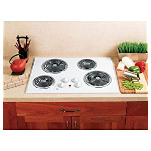 """GE JP328WKWW 30"""" White Electric Coil Cooktop"""
