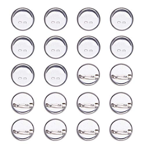 (PandaHall 50 Pcs Iron Brooch Clasps Pin Disk Base Pad Bezel Blank Cabochon Trays Backs Bar Diameter 28mm for Badge, Corsage, Name Tags and Jewelry Craft Making Platinum)