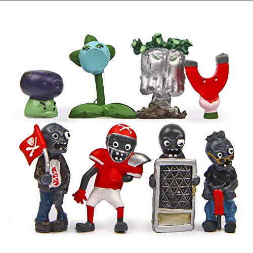 RAFGL PVZ Plants Vs Zombies Figures Toys Snow Pea Fume-Shroom Football Zombie Flag Zombie PVC Action Figure Model Toy 8Pcs/Lot New Must Haves 2 Year Old Girl Gifts Favourite Movie Superhero Coloring (Wii Games Plants Vs Zombies)