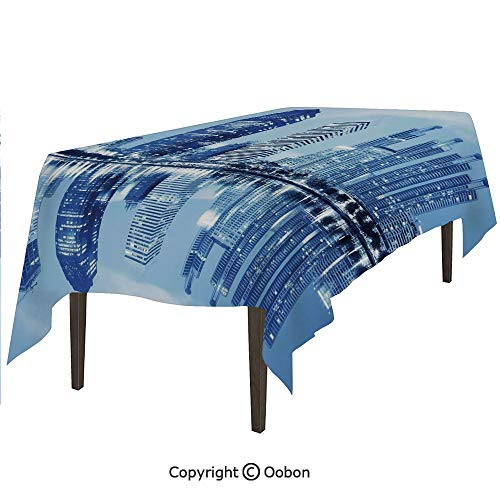 Space Decorations Tablecloth, Night Scene of City Buildings Architecture Twilight Water Reflection Metropolitan, Rectangular Table Cover for Dining Room Kitchen, W90xL132 inch - Metropolitan Table Dining Rectangular