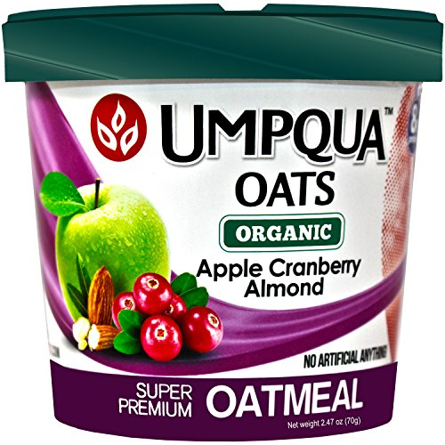 Umpqua Oats Oatmeal Super Premium Organic Apple Cranberry Almond Gluten Free 2.47 Ounce Meals (12-Count)