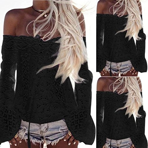 Turtleneck Stripe Top (Joint Women Boho Blouse, 2018 Summer Off Shoulder Long Sleeve Lace Loose Tops T-Shirt (XXX-Large, Black))