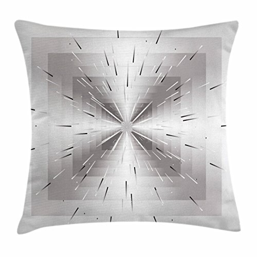 Silver Throw Pillow Cushion Cover by Ambesonne, Nested Squares with Ombre Lines Optical Illusion Deep Perspective Modern Design, Decorative Square Accent Pillow Case, 28 X 28 Inches, Dimgray - Design Optical Interior Shop