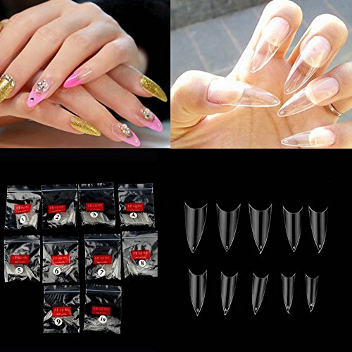 500Pcs Nail Tips Women Girl Transparent Clear Natural Stiletto Point Gel Fake False Nails Art Decoration Tool -