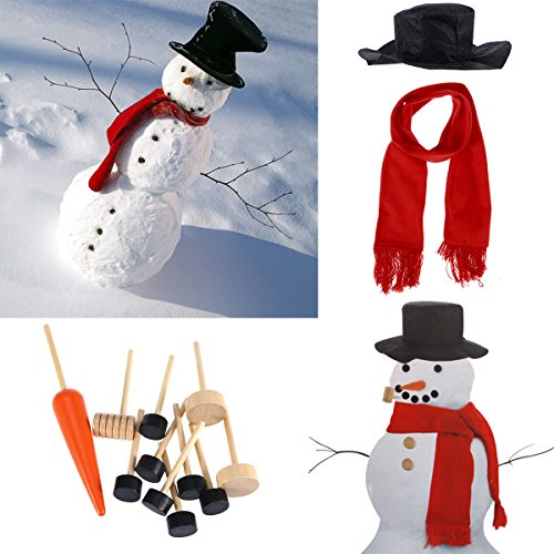Tinksky Snowman Decorating Dressing Kit Winter Holiday Outdoor Toys Decoration Christmas Gift Hat Scarf Pipe Eyes Mouth Button Nose 13pcs Accessories Included Christmas Gift - Snowman Diy