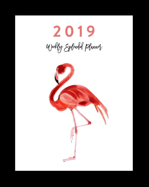 2019 Weekly Splendid Planner: Flamingo Watercolor Art ...