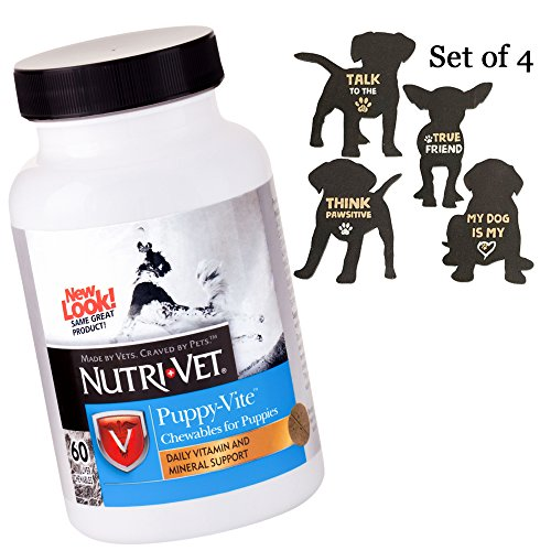 Puppy Vitamins - Puppy Supplements with Antioxidants Taurine - Healthy Puppy Vitamins for Skin Coat Joint Liver Brain - Chewable Support Small Medium Large Puppies - 4 Pack Dog Puppy Magnets Included
