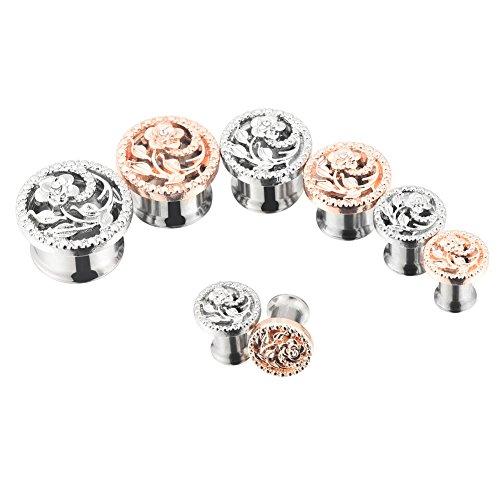 PHD LTD Stainless Steel Silvery/Gold Diamond Rose Double Flared Flesh Ear Tunnels Plugs Stretcher Expander Kit Gauge 2g