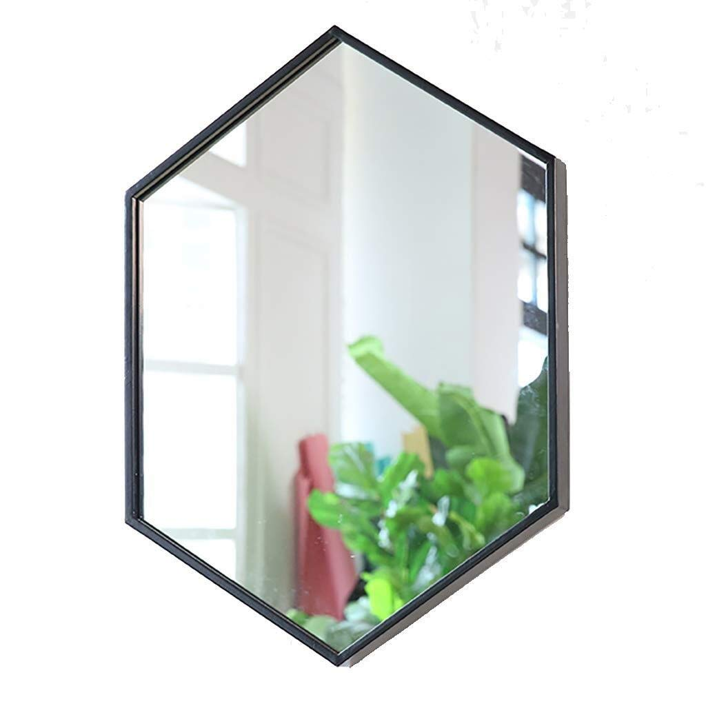Beauty mirror Bathroom Miroir,Wall Large Framed Mirror With Iron Mirror Frame | Premium Silver Backed Glass Panel Vanity, Bedroom, Or Bathroom | Hexagon Hangs Vertical Dressing mirror by Makeup Mirrors