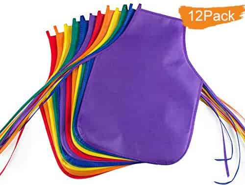 Children's Artists Fabric Aprons - Classroom,Kitchen, Community Event, Crafts & Art Painting Activity. Safe Clean 12 Pack Assorted Colors