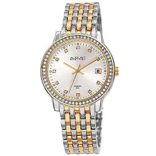 August Steiner China Crystal Accented Women's Watch –Gold and Silver Tone Designer Stainless Steel Bracelet – Sunray Dial, Diamond Markers -AS8262TTG