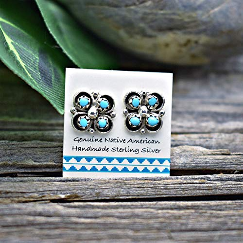 Genuine Sleeping Beauty Turquoise Cluster Stud Earrings in 925 Sterling Silver, Authentic Navajo Native American, Handmade in the USA, Nickle ()