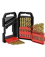 WORKPRO Spiralbohrer Metall Bohrer Set aus Titanium HSS Handspiralbohrer mit stabilem ABS Aufbewahrungskoffer 29 tlg. für Holz,Metall,Glas