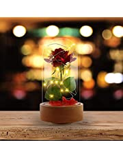 Asommet aggiornato auto-rotated rosso petali di rosa di seta e luce a LED con Fallen in vetro a cupola su base in legno per decorazioni per la festa di nozze anniversario