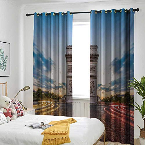 TRTK Window Curtain Fabric Sun Visor in Bedroom Living Room European,Paris Famous Champs Elysees Avenue Historical Monument French Culture Panorama,Multicolor ()