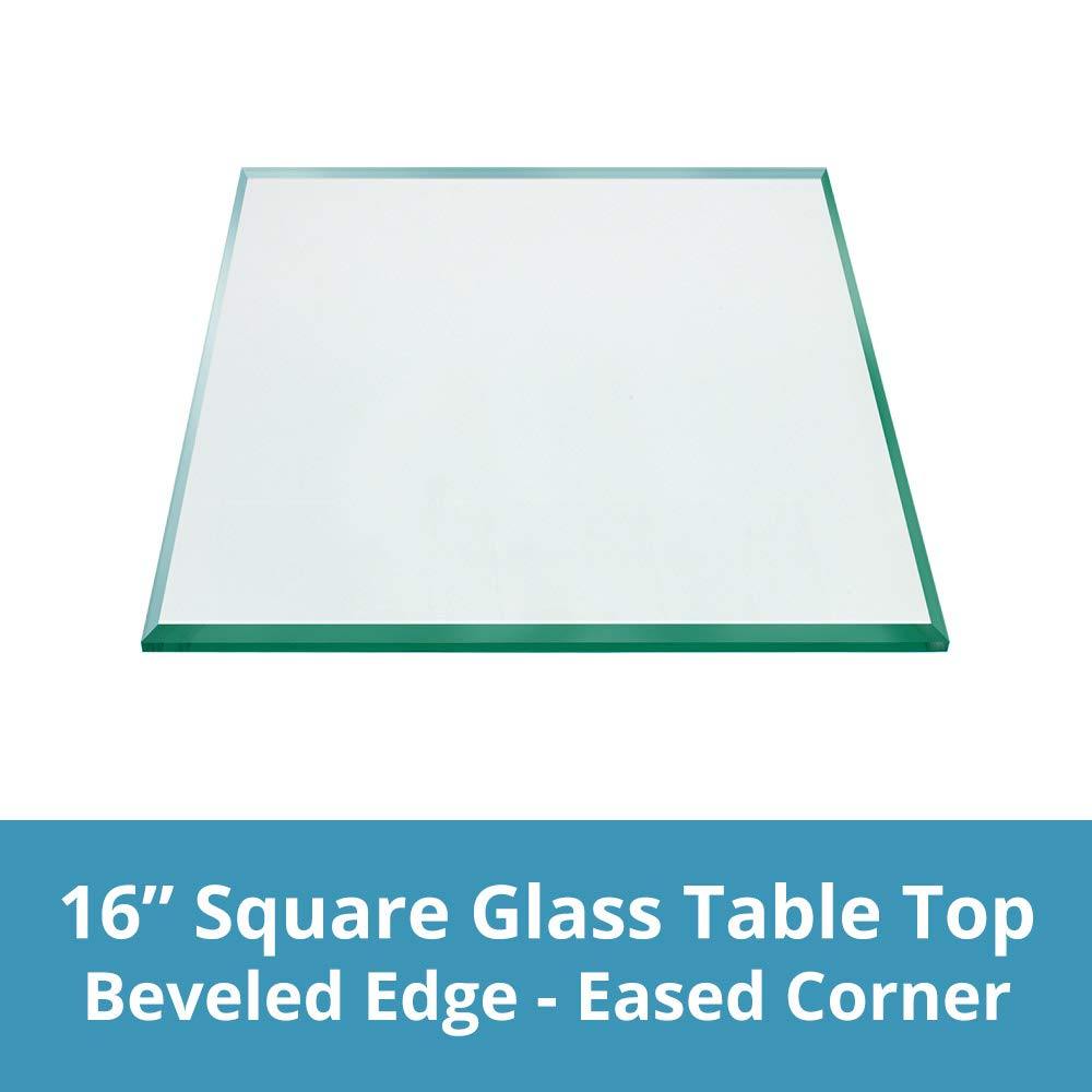 TroySys - 1/4'' Thick Square Glass Table Top (16'' x 16'') | USA Premier Glass Maker | High Strength Tempered Glass with Bevel Radius Edge | Great for Indoor or Outdoor Tables