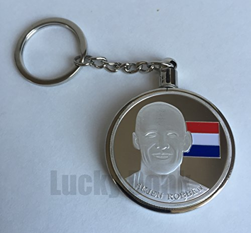 Plated Star Paperweight - Soccer Star Arjen Robben Silver Plated Collectible Challenge Coin in clear case and keychain, Poker Card Guard, Golf Ball Marker, paperweight + free sticker by Lucky Donk