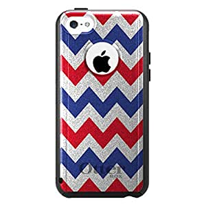 CUSTOM Black OtterBox Commuter Series Case for Apple iPhone 5C - Red Blue White Chevron Stripes