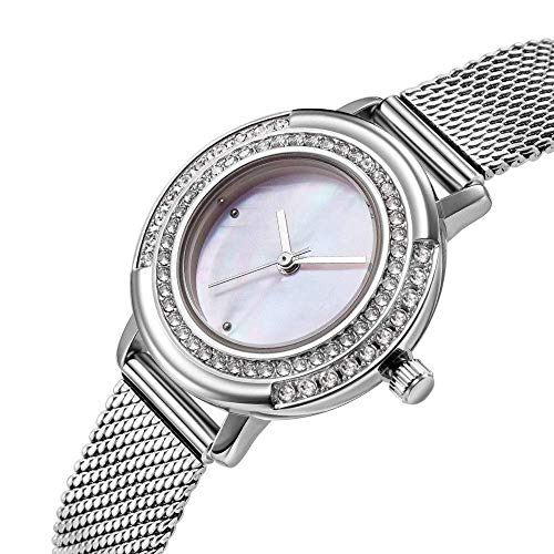 BEWITCHYU Practical Wristwatches Ladies Diamond Ultra-Thin 8Mm Quartz Watch 28Mm Stainless Steel Mesh Belt Simple Fashion Decorative Watch Bracelet