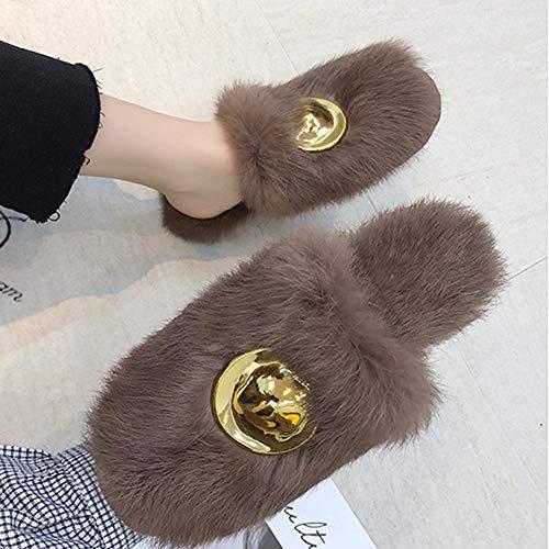 Et Pois Plat Automne L'extérieur Fourrure Taille Standard Coréenne Brown Porter Chaussures Version À couleur 39yards Td Couleur D'hiver Élégante En Solide Femme Brown XPwvYI