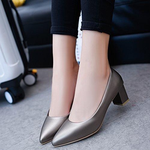 Tacones Zapatos Qiqi Xue Corte Trabajo Gris de Baja Mujer Zapatos la Gruesos Profesionales Boca de de con de Acentuados de la 39 Zapatos XHwHp