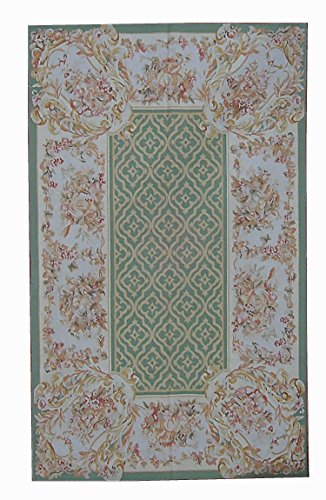(Pasargad Aubusson Hand-Woven New Zealand Wool Area Rug- 5'11