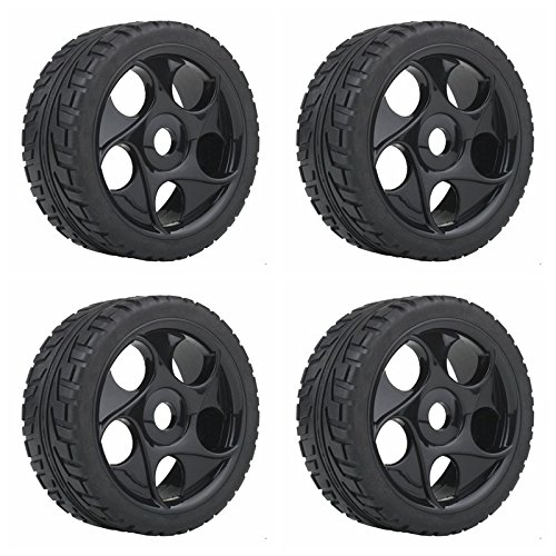 Shaluoman 4PCS RC 1:8 Off-Road Car Buggy Foam Rubber Tyre Tire and Wheel Rim Hub 17mm Hex
