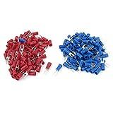 eDealMax 16-14 AWG Rouge Bleu Connecteur de fil isolé Fourche Terminal # 4 avec 200 pièces