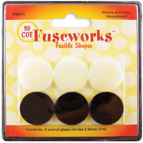 Fuseworks Ebony and Ivory Fusible Glass Shapes 1-Inch Round Disks, Black/White, 6-Pack (Diamond Shape Disc)