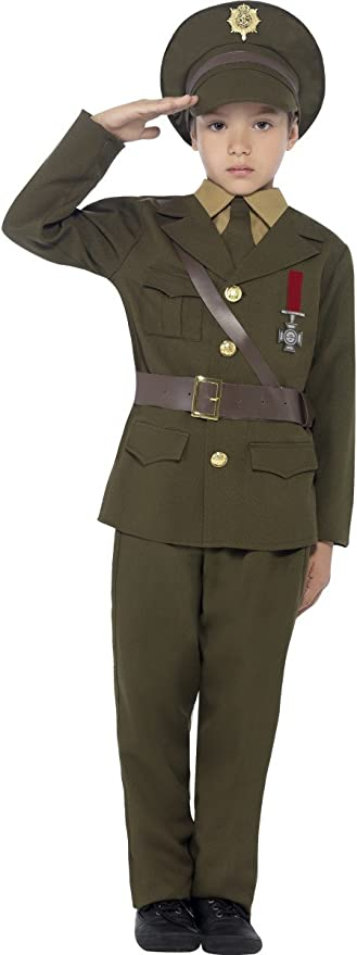 1940s Children's Clothing: Girls, Boys, Baby, Toddler Smiffys Childrens Army Officer Costume Jacket Belt Trousers Hat Mock Shirt & Tie Boys Size:L Colour: Green 27536 £10.40 AT vintagedancer.com