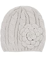 Hatsandscarf CC Exclusives Women's Knitted Cute Beanie Hat with Flower Accent