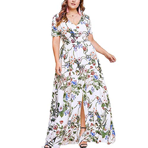 Photno Women's Maxi Dress Bohemian Strapless lace Sexy V-Neck Split Hem Dress Dresses Large Size White