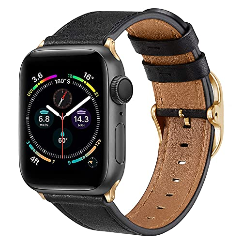IFECCO Leather Bands Compatible with Apple Watch Band 38mm 40mm 42mm 44mm, Vintage Genuine Leather Adjustable Replacement Strap Women Men for iWatch SE & Series 6 5 4 3 2 1 (Black/Gold, 38/40mm)