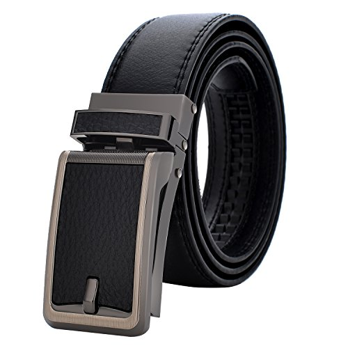 Ratchet Leather Dress Belt for Men, Up to Size 50 - S Buckle