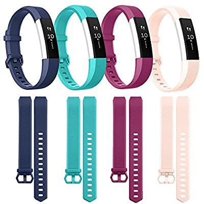 Tobfit Classic Replacement Bands Compatible for Alta and Alta HR, 4 Pack, Small, Blue, Teal, Fuchsia, Blush Pink
