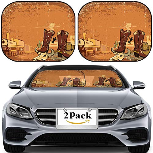 (MSD Car Sun Shade for Windshield Universal Fit 2 Pack Sunshade, Block Sun Glare, UV and Heat, Protect Car Interior, Wild Western Background with Locomotive on Old Paper Texture Image ID 1054975)