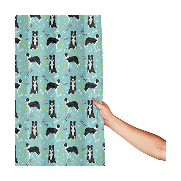 Border Collie Coffee Home Universal Bathroom Personality Durable Waterproof Mildew Polyester Fiber Shower Curtain Liner 60 X 72 Inch with 12 Hooks and Weighted Lead Wire 3