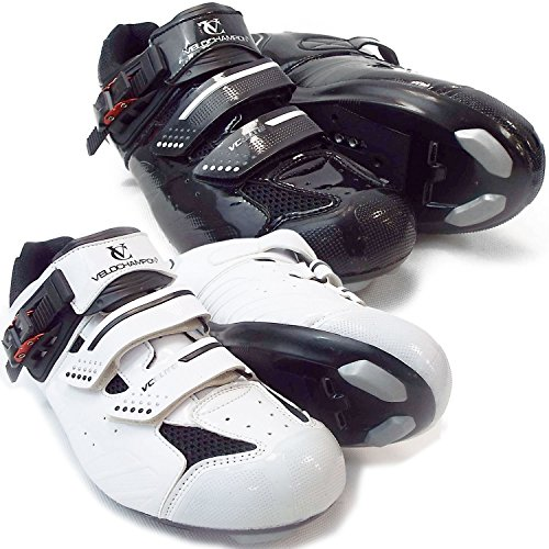 VeloChampion Elite Road Cycling Shoes (pair) Black/Silver 46