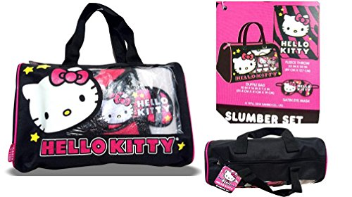 Hello Kitty slumber set 3PC duffle bag + fleece throw + eye mask pink zebra