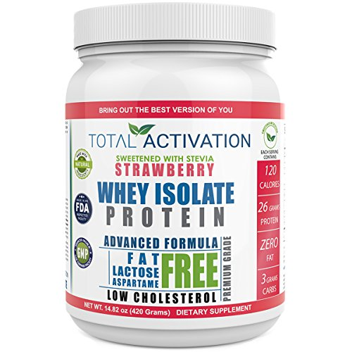 Strawberry Flavored Whey Isolate Protein Powder, 100% Lactose-Free Non-GMO Low Carb Whey Isolate with Stevia for Muscle Nutrition and Natural Weight Loss Now - 100% Whey Natural Strawberry