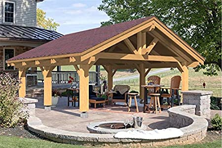 Amazon Com Ecohousemart Wooden Carport For 2 Vehicles Patio Cover 24 X 24 X 16 6 Engineered Wood Glt Prefabricated Diy Garden Outdoor