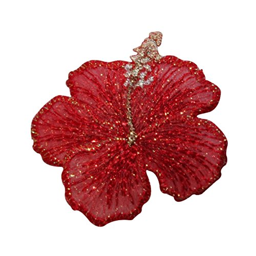 (ID 6719 Shiny Red Hibiscus Flower Patch Tropical Embroidered Iron On Applique)