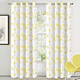 DriftAway Dandelion Floral Botanic Lined Thermal Insulated Blackout/Room Darkening Grommet Energy Saving Window Curtains, 2 Layer, Set of Two Panels, Each Size 52″X84″ (Yellow) Review