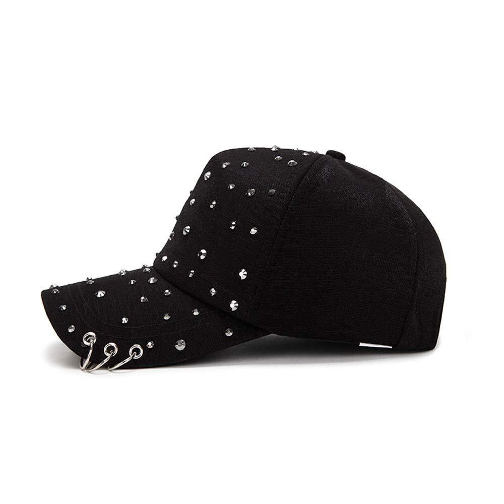 Kecqam Unisex Hipster Baseball Cap Spring Summer Autumn Letters Black Hip Hop Hat Stage Casual Hats Dazzling Hat Outdoor Hiking Hat Adjustable Strapback Hat Color : Black