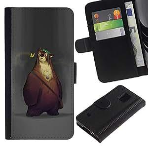 All Phone Most Case / Oferta Especial Cáscara Funda de cuero Monedero Cubierta de proteccion Caso / Wallet Case for Samsung Galaxy S5 V SM-G900 // lindo oso de dibujos animados los niños de primavera de los animales