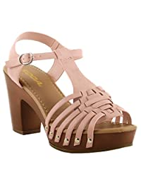 Soda Shoes Women's Open Toe High Heel Wedge Sandals with Interlace Straps MVE Shoes