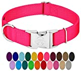 Country Brook Petz | Premium Nylon Dog Collar with Metal Buckle (Medium, 3/4 Wide, Hot Pink)
