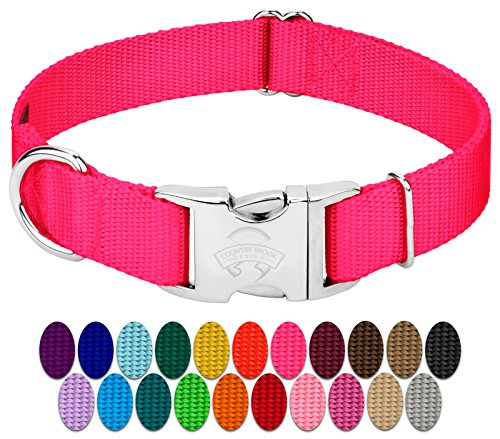 Country Brook Design Vibrant 25 Color Selection Premium Nylon Dog Collar With Metal Buckle Large 1 Inch Hot Pink