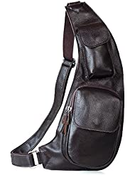 BAIGIO Cow Leather Sling Bag Chest Shoulder Backpack Fanny Pack Daypack Crossbody Bags for Men