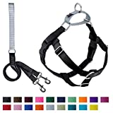 2 Hounds Design Freedom No-Pull Dog Harness and Leash, Adjustable Comfortable Control for Dog Walking, Made in USA (Large 1') (Black)
